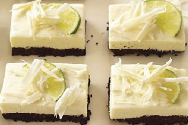 White Chocolate and Lime Cheesecake Bars from Epicurious
