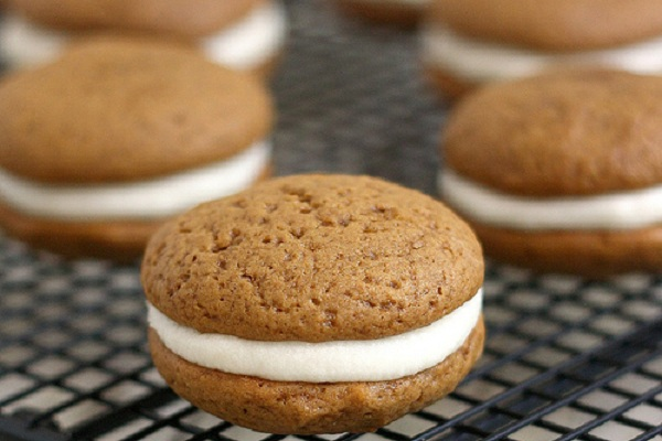 Gingerbread Whoopie Pies with Lemon Cream Cheese Filling from Tracey's Culinary Adventures