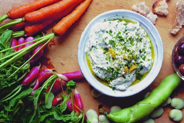 Herbed Ricotta Dip with Vegetables from Leite's Culinaria, Photo by Jonathan Lovekin