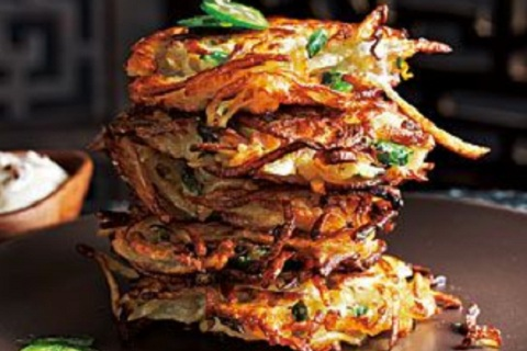 Spicy Jalapeno Latkes with Chipotle Sour Cream