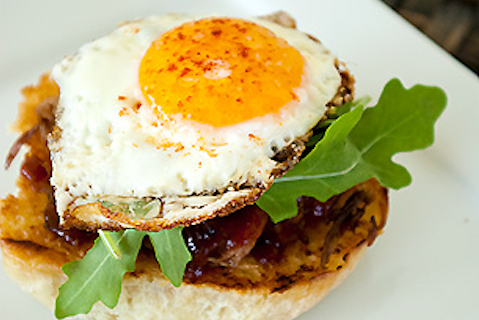 Open-faced Barbecue Sandwich with Fried Egg