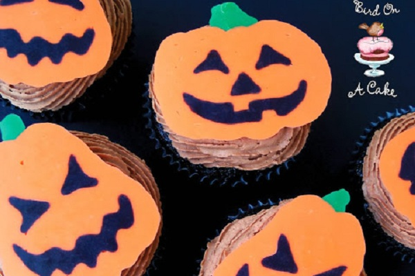 Jack-O-Lantern Cupcake Toppers from Bird on a Cake