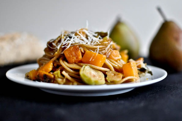 Caramelized Pear, Squash & Parmesan Noodles from How Sweet It Is