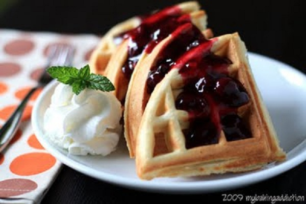 Vanilla Bean Waffles With Homemade Blueberry Sauce from My Baking Addiction