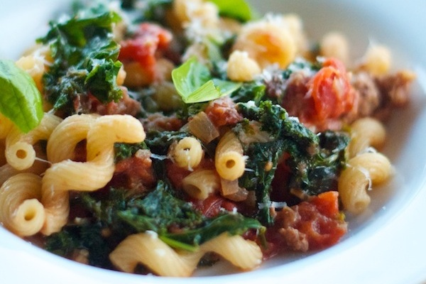 Cavatappi with Sausage and Kale from Camille Styles