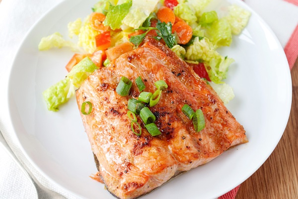 Quick Broiled Ginger Salmon from Baked Bree