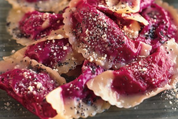 Beet Ravioli with Poppyseed Butter from Epicurious