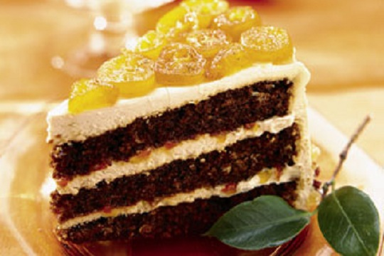 Gingerbread Layer Cake with Candied Kumquats from Epicurious Photo by Mark Thomas