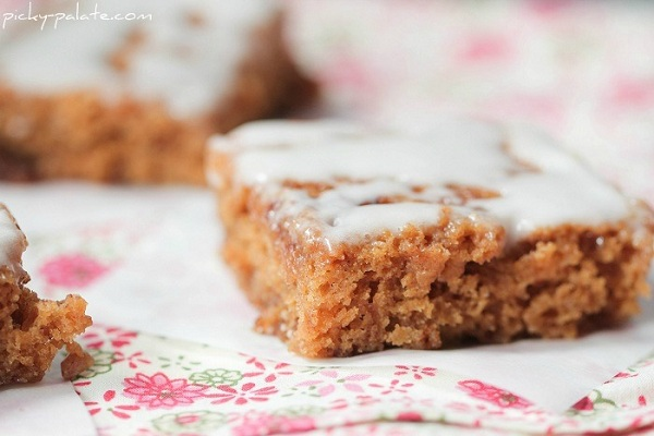 Cinnamon Roll Swirled Gingerbread Bars with Toffee Chips from Picky Palate