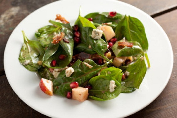 Spinach Pomegranate Salad with Apples and Walnuts from Pinch My Salt