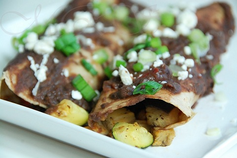 Zucchini-Eggplant Enchiladas with Spicy Black Bean Sauce
