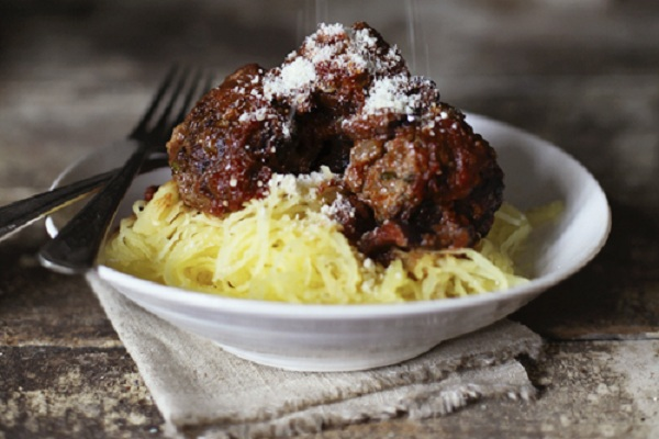 Spaghetti Squash Pasta with Meatballs from Roost
