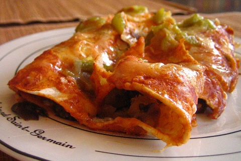 Green Chili Black Bean Enchiladas