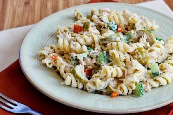 Tuna Pasta Salad Recipe with Lemon, Green Olives, and Cucumbers from Kalyn's Kitchen
