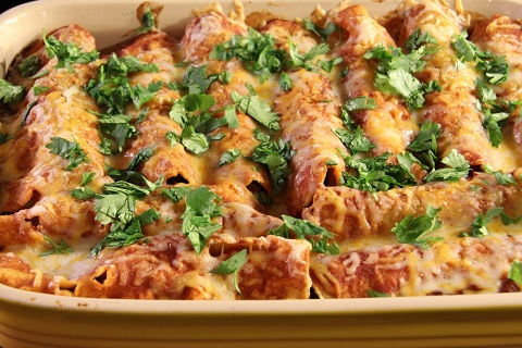 Chicken, Black Bean and Sweet Potato Enchiladas