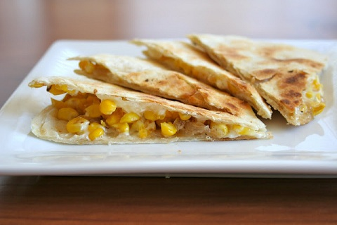 Quesadilla with Goat Cheese, Corn, and Caramelized Onions