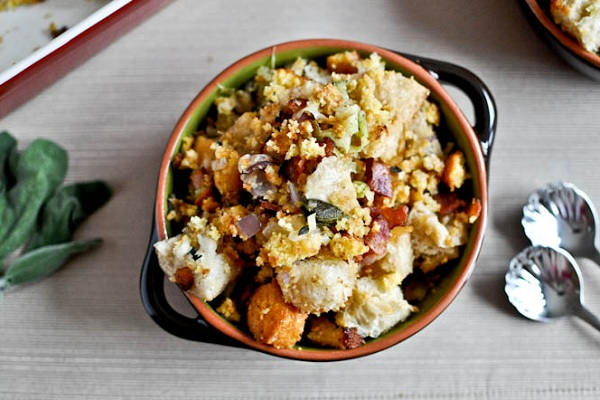 Double Bread Stuffing with Brown Butter, Bacon & Sage from How Sweet It Is