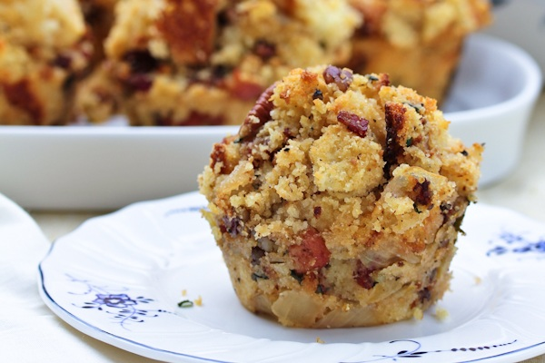 Cornbread Stuffing Muffins with Apple and Pancetta from A Spicy Perspective