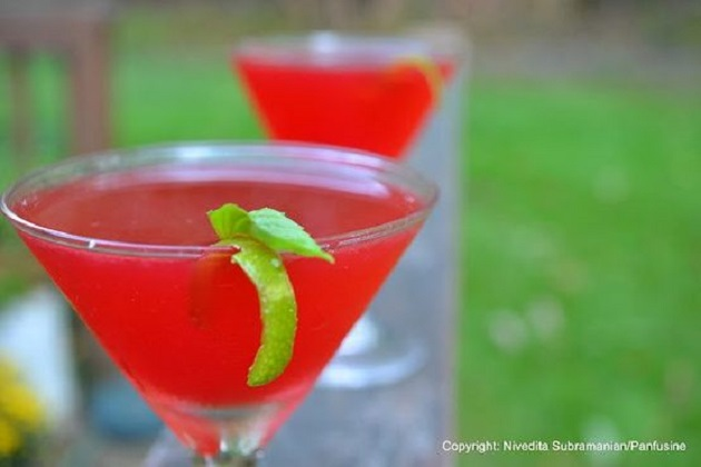 Ginger, pomegranate and basil gimlet from food52