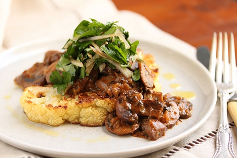 Cauliflower Steak with Mushroom Ragout