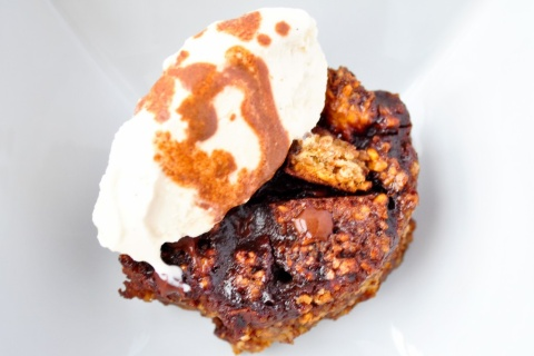 Guinness Chocolate Bread Pudding with Vanilla Ice Cream
