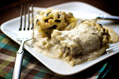 Lasagna Rolls with Three Mushrooms, Four Cheeses and Sage Bechamel