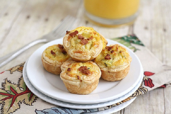 Bacon, Leek and Cheddar Mini Quiches from Tracey's Culinary Adventures
