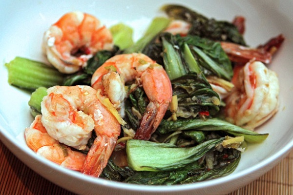 Nigel Slater's Shrimp with Asian Greens from Serious Eats