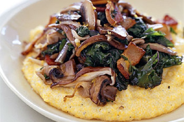 Kale and Mushrooms with Creamy Polenta from Epicurious