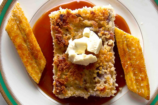 White Chocolate Bread Pudding with Bananas and Rum Sauce from Saveur Magazine