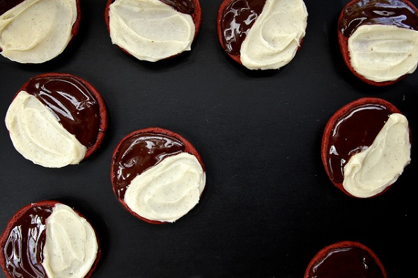 Red Velvet Black and White Cookies from Joy the Baker
