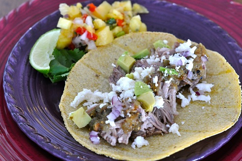 Chili Pulled Pork Tacos with Tomatillo Salsa