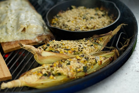 Grilled Corn Boats with Zucchini and Pepper Jack Cheese
