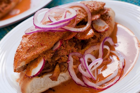 Carnitas Torta Ahogada (Drowned Pulled Pork Sandwich)