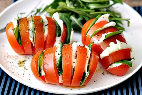 Hasselback Caprese Salad from Fuss Free Cooking
