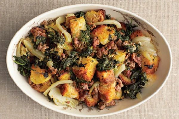 Spinach, Fennel, and Sausage Stuffing with Toasted Brioche from Epicurious