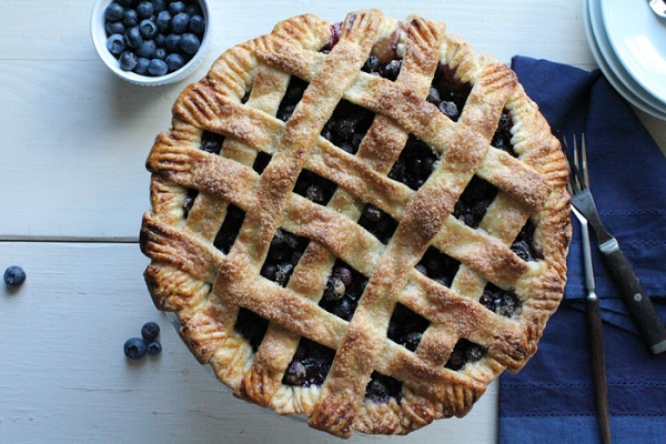 Lattice-Top Blueberry Pie from Hip Foodie Mom