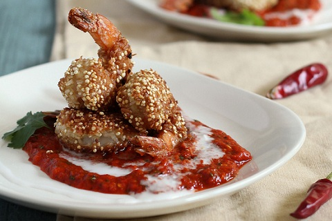 Quinoa Crusted Coconut Shrimp with Red Pepper Sauce