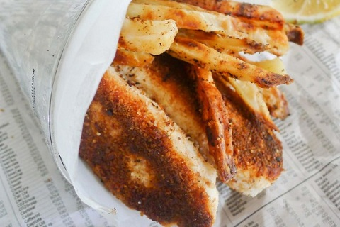 Healthy Fish Fingers and Ovenbaked Chips