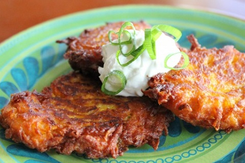 Sweet Potato Latkes with Apples and Onions