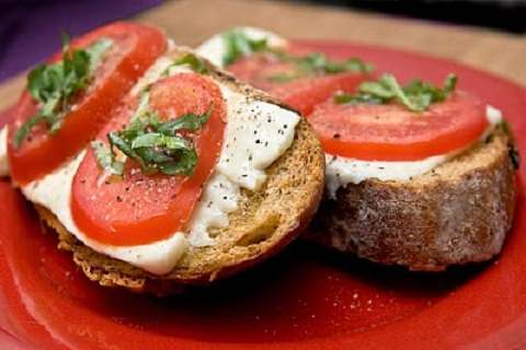 Tomato Basil Open Faced Grilled Cheese