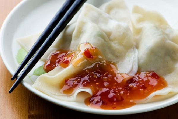 Pork Dumplings with Chili Sauce from Framed Cooks