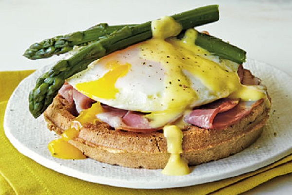 Eggs Benedict Waffle Sandwiches from My Recipes