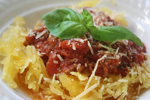 Spaghetti Squash with Homemade Meat Sauce