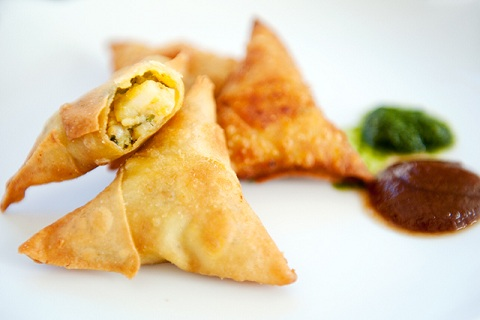 Pea and Potato Filled Cocktail Samosas