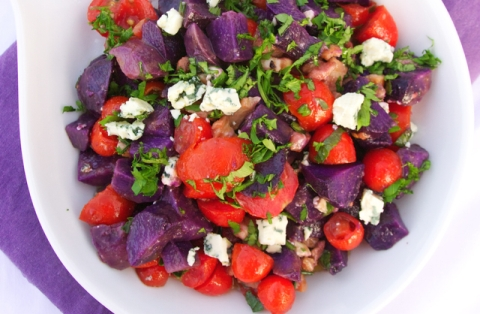 Vitelotte Potato Bleu Cheese Tomato Salad