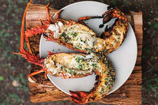Grilled Lobster with Garlic-Parsley Butter from Saveur