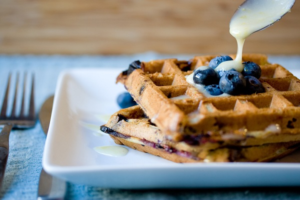Blueberry Waffles with Lemon Icing from Vegan Yum Yum