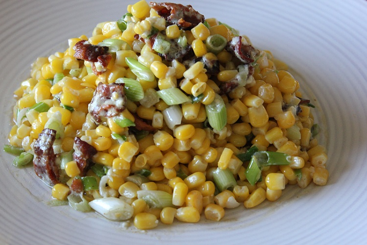 Bacon, Blue Cheese, Green Onion, and Corn Salad by Yumology