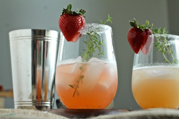 Strawberry Thyme Margaritas from Life as a Strawberry